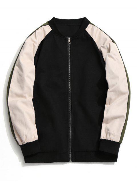 buy Color Block Zipper Baseball Jacket - BLACK 4XL Mobile