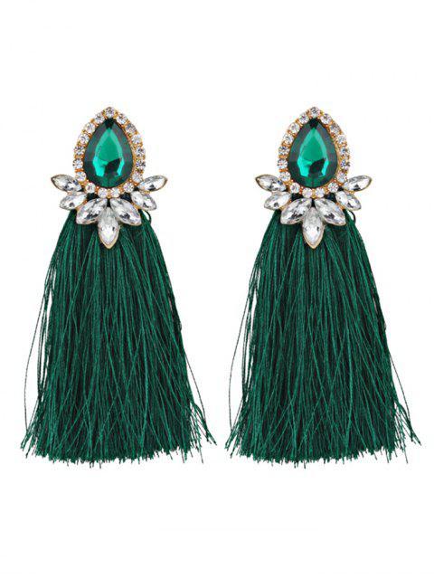 Rhinestoned Faux Gem Teardrop Tassel Earrings - Verde  Mobile