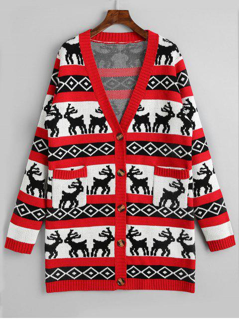 women Button Up Elk Geometric Christmas Cardigan - RED M Mobile