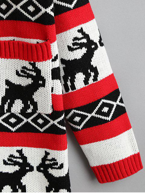 women's Button Up Elk Geometric Christmas Cardigan - RED L Mobile