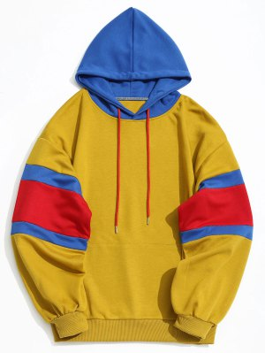 Kangaroo Pocket Color Block Hoodie Men Clothes