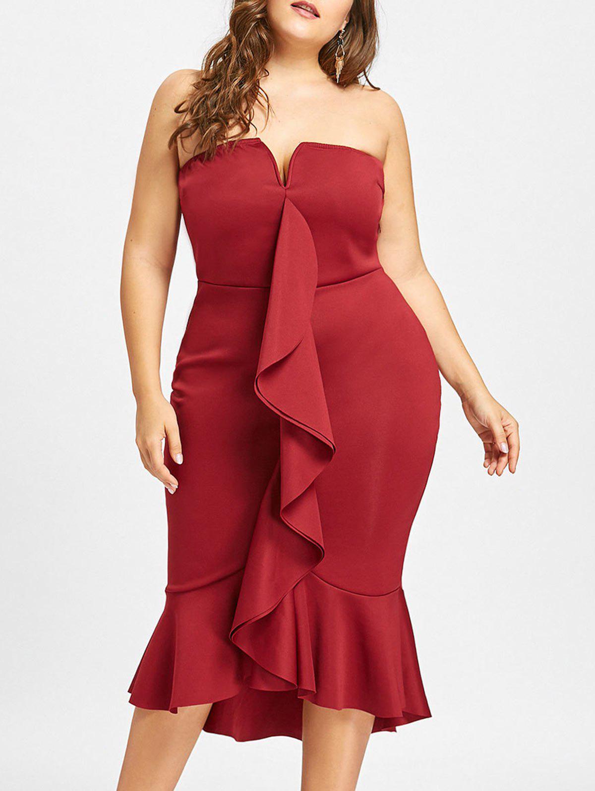 Plus Size Ruffle Mermaid Tube Dress