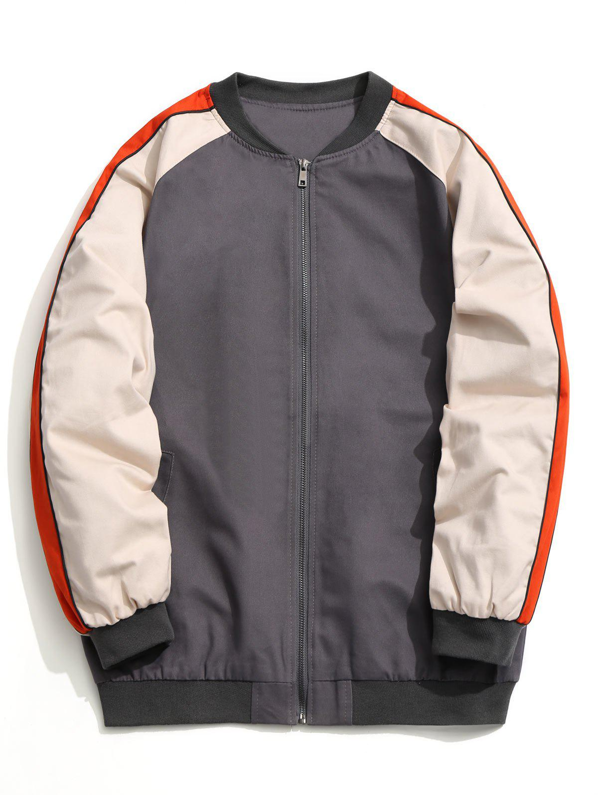 Color Block Zipper Baseball Jacket