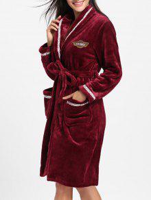 الصوف طول الركبة التفاف ثوب النوم - نبيذ أحمر L