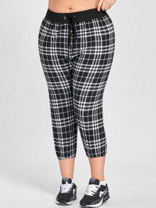 48e45c14559 2019 Plus Size Plaid Drawstring Capri Pants In BLACK WHITE XL