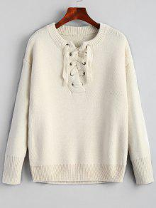 Drop Schulter Plain Lace Up Pullover - Beige