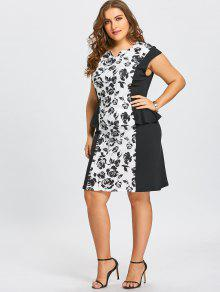 6586777b6c 36% OFF  2019 Plus Size Notched Floral Fitted Peplum Dress In WHITE ...