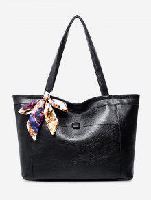 حقيبة كتف مصنوعة من الجلد المزيف مزينة بوشاح - أسود