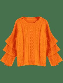 Layered Sleeve Pullover Cable Knit Sweater ORANGE RED: Sweaters ...