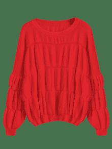 Pullover Lantern Sleeve Oversized Sweater RED: Sweaters ONE SIZE ...