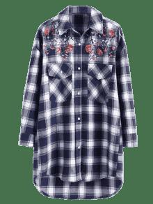 Florales Cuadros Lentejuelas A Con Cuadros Comprobado Y Camisa L qxYw4RnR