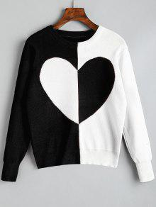 Buy Pullover Two Tone Heart Sweater - BLACK ONE SIZE