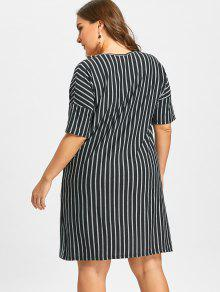 Plus Size Striped Shift Dress Black