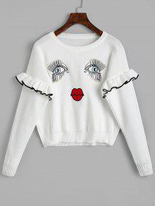Suéter Pearly Bordado En La Cara Del Jersey - Blanco