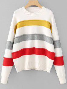 Buy Striped Contrast Pullover Sweater - MULTI ONE SIZE