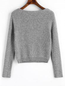 Pullover V Neck Cropped Sweater GRAY: Sweaters ONE SIZE | ZAFUL