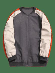 Block Color Baseball Zipper 4xl Gris Jacket 8HHdw1q