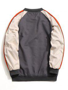 Color 4xl Jacket Block Baseball Zipper Gris A6wnzrAq