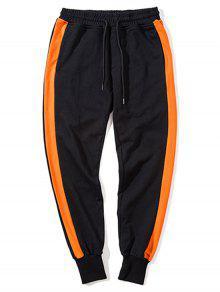 بنطلون رياضي جانب مخطط مشد  - أسود وبرتقالي 2xl
