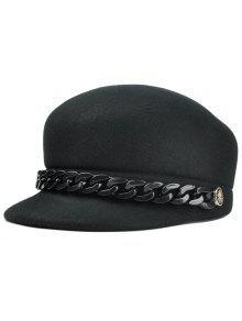 المعادن ربط سلسلة منمق الاصطناعي الصوف قبعة مستديرة - أسود