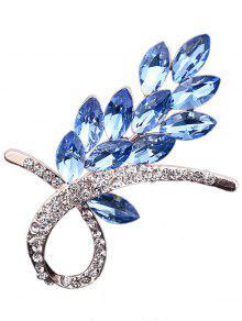 فو كريستال حجر الراين الزهور بروش - أزرق