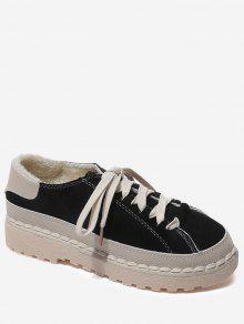 حذاء كاجوال مخيط بألوان متعاكسة ذو أربطرة - أسود 37