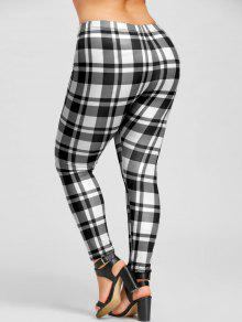 818d50c926e91e 31% OFF] 2019 Plus Size Plaid Leggings In WHITE AND BLACK | ZAFUL