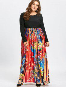 Paisley Printed Plus Size Long Sleeve Maxi Dress