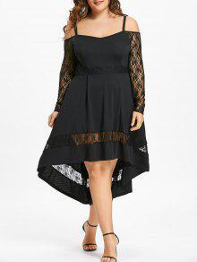 Vestido De Fiesta De Dobladillo Con Inserción De Encaje De Tamaño Extra Grande - Negro 5xl