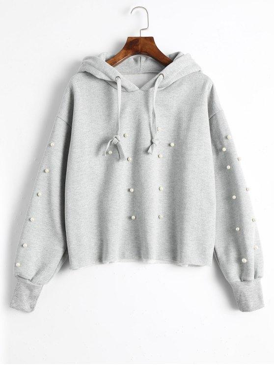 women's Faux Pearl Tunic Hoodie - GRAY XL