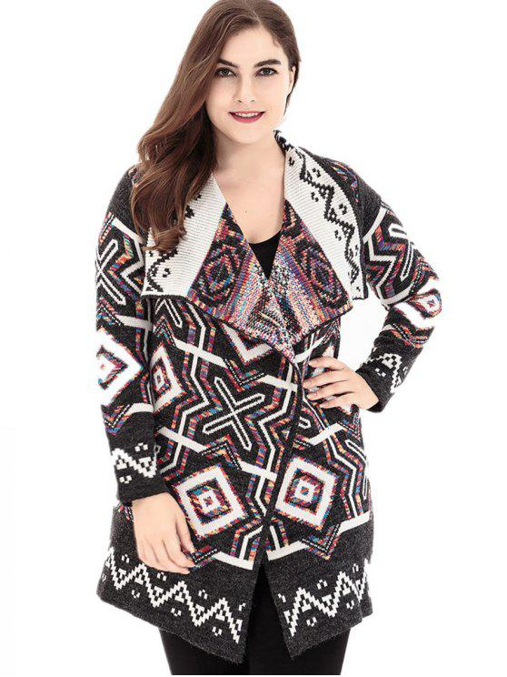 fancy Geometric Lapel Plus Size Sweater Cardigan - COLORMIX ONE SIZE