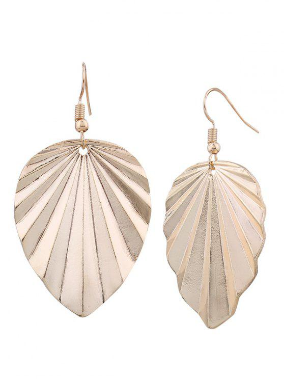 new Metal Elliptic Leaf Drop Earrings - GOLDEN