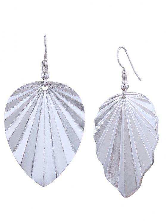 outfit Metal Elliptic Leaf Drop Earrings - SILVER