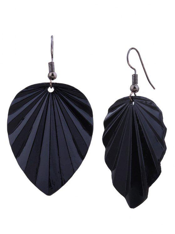 shop Metal Elliptic Leaf Drop Earrings - BLACK