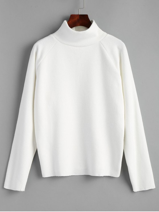 outfits Raglan Sleeve Pullover Turtleneck Sweater - WHITE ONE SIZE