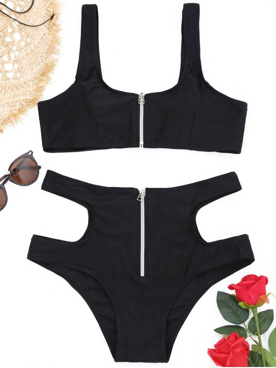 fashion Cutout Zippered High Waisted Bikini Set - BLACK S