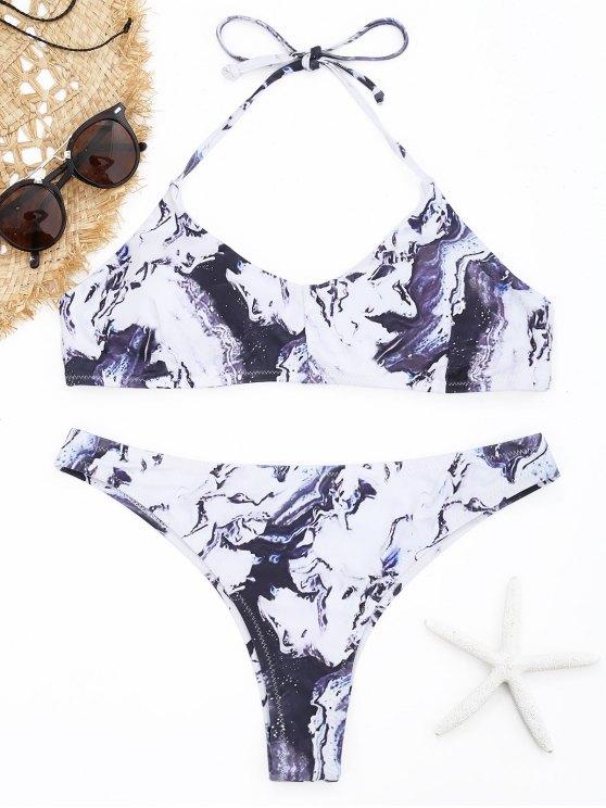 buy Halter Tie Dye Bikini Set - WHITE S