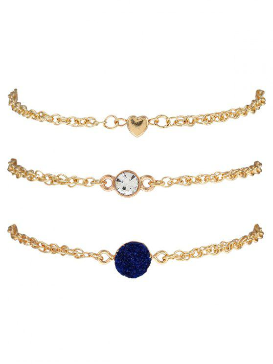 womens Natural Stone Rhinestone Heart Bracelet Set - INK BLUE