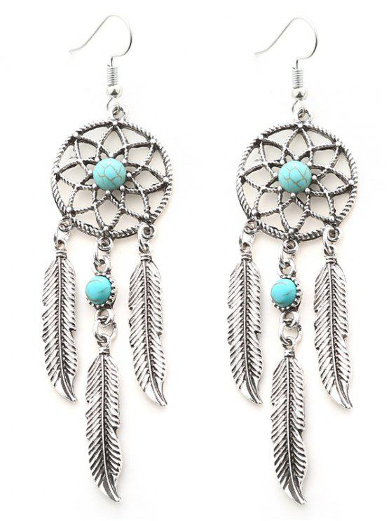 Womens Faux Turquoise Feather Dream Catcher Earrings Silver