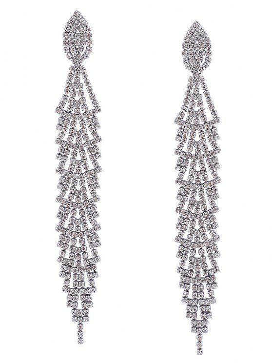 women Faux Rhinestone Long Dangle Earrings - SILVER