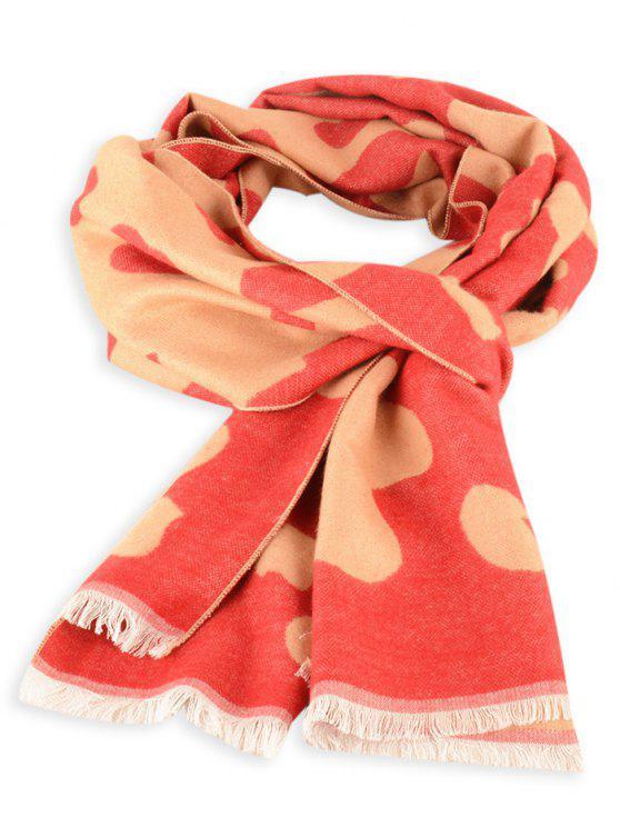 Bufanda de invierno con flecos de piel de vaca - Rojo