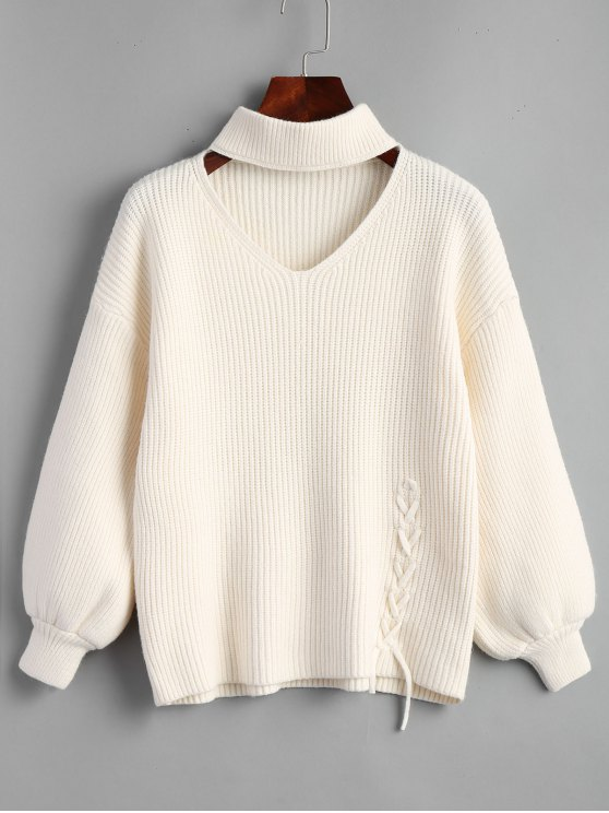 Lantern Sleeve Lace Up Choker Sweater WHITE: Sweaters ONE SIZE | ZAFUL