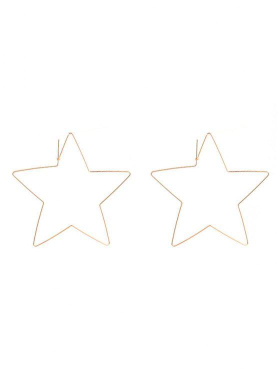 fashion Alloy Metal Star Hoop Earrings - GOLDEN
