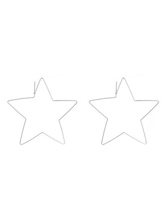 fancy Alloy Metal Star Hoop Earrings - SILVER