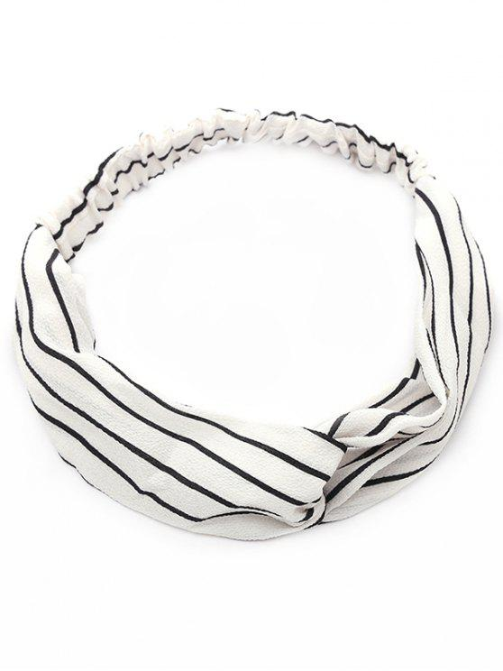 women Striped Two Tone Elastic Hair Band - WHITE