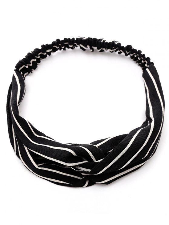 ladies Striped Two Tone Elastic Hair Band - BLACK