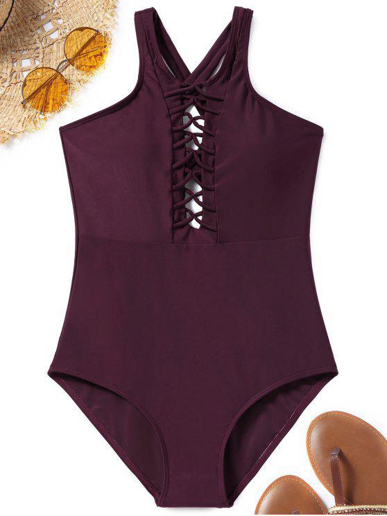 قطعة واحدة عبر العودة Strappy ملابس السباحة - عنابي اللون S