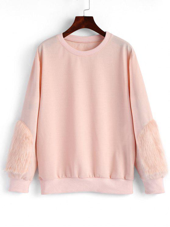 9cbea6b51ca 2019 Faux Fur Sweatshirt In LIGHT PINK S   ZAFUL