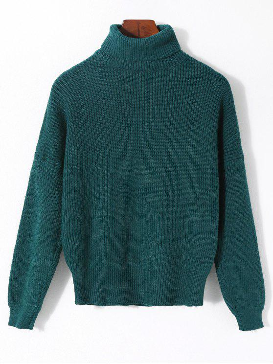 womens Plain Turtleneck Ribbed Sweater - MALACHITE GREEN ONE SIZE