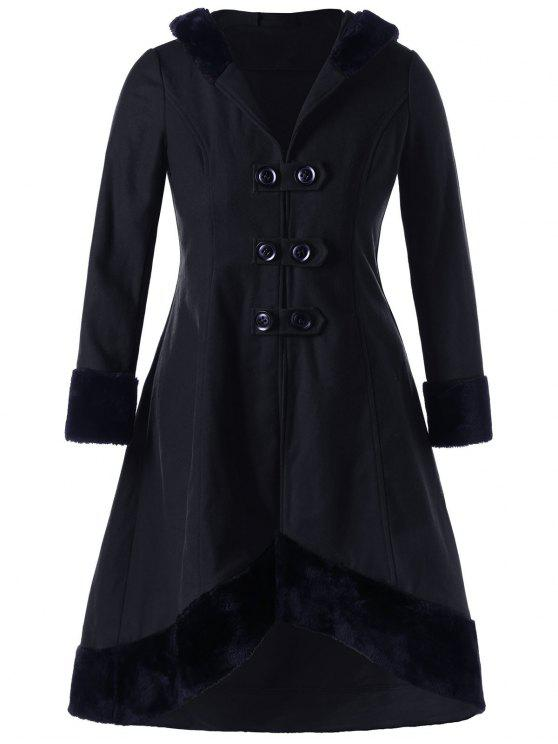 Abrigo de dobladillo con aplicación de encaje de talla grande - Negro 4XL